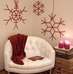 How to make beautiful snowflake wall decoration with used popsicle sticks step by step DIY tutorial picture instructions