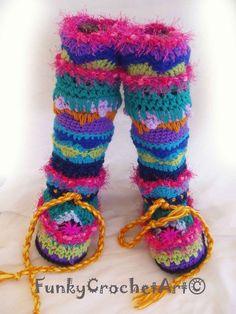 Colourful crochet socks