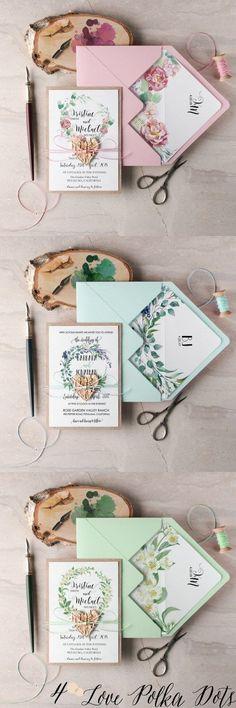 Watercolor flower wreath wedding invitations #pinkwedding #greenwedding #bluewedding