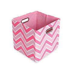 GiggleDots Rose Canvas Folding Storage Bin in Zig Zag