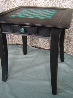 Hand Painted Up Cycled Solid Wood Checkerboard Side Table With Drawer
