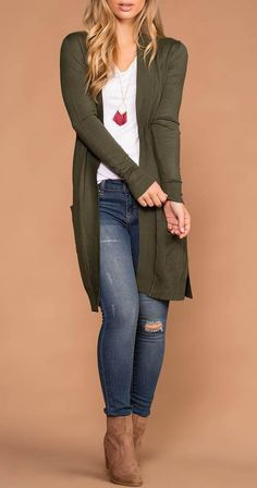 Ideas How To Wear Sweaters Winter Long Cardigan - Strickjacken/ Cardigan - Fall Outfit Fall Fashion Outfits, Casual Fall Outfits, Fall Fashion Trends, Mode Outfits, Spring Outfits, Autumn Fashion, Womens Fashion, Casual Winter, Winter Outfits
