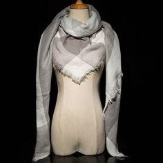 Oversized Plaid Cashmere Women Scarf Blanket Wrap
