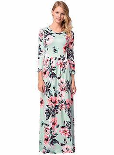 5cbb9774945 2017 Femmes Robes Longues Printemps Été Casuales Col Ronde Vintage Imprimé  Florale à Manches Longues Boho