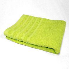 Drap de douche 70 x 130 cm en éponge unie de couleur vert anis.<br>100% coton, 450g/m2.