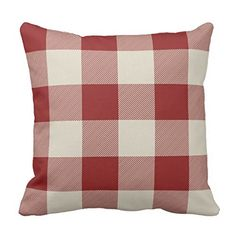 Rustic Maroon and Beige Buffalo Check Plaid Pillow case 1...