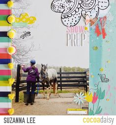 Show Prep, by Suzanna Lee using the Flutterby collection from www.cocoadaisy.com #cocoadaisy #kitclub #scrapbooking #layout #large #photo #fussycut #stamping #pompoms #sequins #diecuts