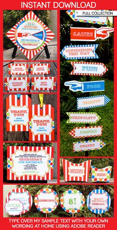 Instantly download Circus or Carnival Party Printables, Invitations & Decorations! Personalize the templates easily at home & get your party started now!