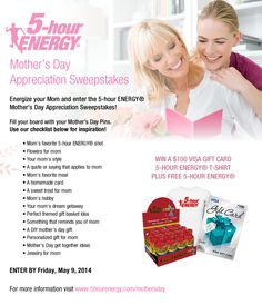 Enter the 5-hour ENERGY® Mother's Day Appreciation Sweepstakes!