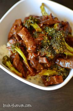 """Crockpot Beef and Broccoli- serve over cauliflower """"rice"""" for a healthy phase 2 meal."""