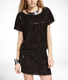 LOW BACK SEQUIN DRESS at Express