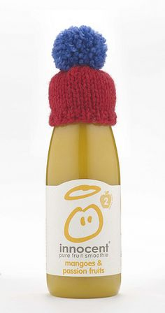 """Big Knit Beginners Hat on the top of some """"Innocent """" Smoothie bottles ~ Free Pattern ~ PDF Download (For each hatted smoothie sold, innocent will donate 25p to Age UK! You can help by knitting more weeny toppers and sending them to innocent. click http://thebigknit.co.uk/"""