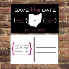 Modern State Save the Date Postcards Invitation Engagement Notice Wedding Map Set of 48. $59.00, via Etsy.