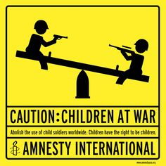 Caution: Children at War Poster By Woody Pirtle of Pentagram for Amnesty International, 1999 - Road signs are frequently used as a reference in protest, perhaps because the goal of the design is clear and immediate communication, and they are universally understood.