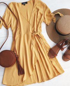 golden wrap dress