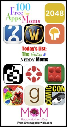 100 FREE Apps for Moms: Today — FREE apps for Gaming Moms and Nerdy Moms! http://www.smartappsforkids.com/2014/05/100-free-apps-for-moms-today-free-apps-for-gaming-moms-and-nerdy-moms.html