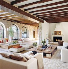Modern Spanish Home Designs for Elegant Properties Concept: Ceiling. I would suggest playing off the Spanish Colonial architecture but modernizing with furnishings, textiles, etc. Home Design, Home Interior Design, Design Ideas, Patio Design, Stone Interior, Mansion Interior, Interior Ideas, Design Room, Chair Design