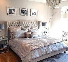 """I absolutely love this bedroom design. I would just add a pop of color! """"Bedroom bliss: our Jameson Bed & Luxe Chandelier are textured & tasteful in home. Master Bedroom Interior, Gray Bedroom, Bedroom Inspo, Home Bedroom, Bedroom Furniture, Bedroom Decor, Bedroom Ideas, Apartment Furniture, 1950s Bedroom"""