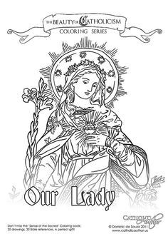 Our-Lady-of-the-Sacred-Heart by CatholicAuthor, via Flickr...there are a few free downloads from a beautiful coloring book that can be purchased (St. Joan of Arc, St. George and the Dragon, and Pope Benedict are in the free set along with this one)