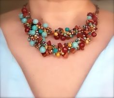 crochet blue and brown beaded necklace - Free Shipping