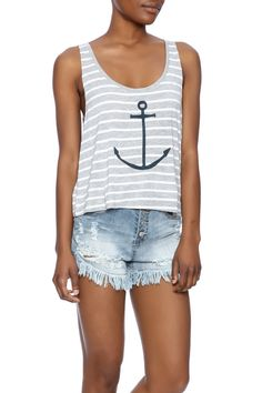 This super soft crop top is hand printed with love, from our hand carved linoleum block design, making each shirt truly one of a kind.Features a scoop neckline.   Anchor Print Tank Top by One Ocean Arts, INC. Clothing - Tops - Sleeveless Clothing - Tops - Tees & Tanks Massachusetts