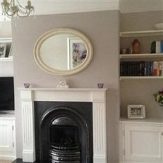 Living room paint farrow and ball elephants breath Ideas for 2019 Living Room Paint, Cozy Living Rooms, Home Living Room, Mantelpiece Decor, Skimming Stone, Elephants Breath, Victoria House, Living Room Styles, Leather Lounge