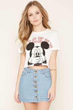Mickey Graphic Crop Top