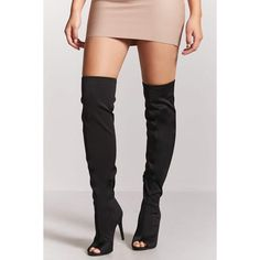 Forever21 Over-the-Knee Open-Toe Boots ($38) ❤ liked on Polyvore featuring shoes, boots, black, over-the-knee boots, black over the knee high heel boots, open-toe boots, thigh-high boots and thigh high heel boots