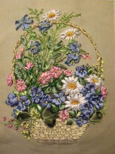 Summer flowers in a basket #ribbonEmbroidery