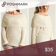 🎁🎁FLASH SALE 🎁🎁FOLD OVER RIBBED SWEATER Soft and luxurious sweater!! Sweaters