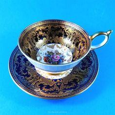 Cobalt Blue & Gold Border with Signed JA Bailey Florals Aynsley Tea Cup & Saucer