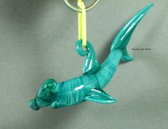 Shark Ornament Lampwork Art Glass Aqua Hammer by MorningLightGlass