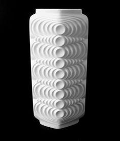 70s Seltmann Weiden Vase weiß Bisquit Porzellan op art porcelain matte annees 70