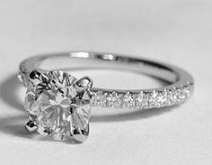 round solitaire engagement rings with diamond band - Google Search