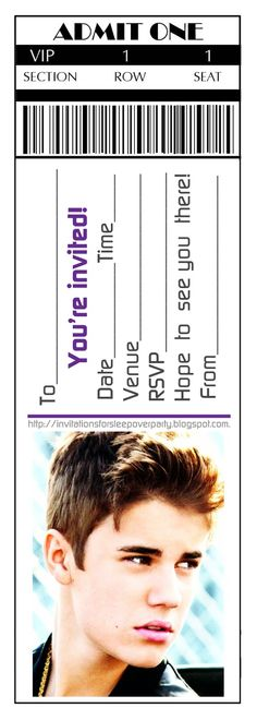 Here are six ticket style VIP party invitations featuring Bridgit Mendler, Selena Gomez, Taylor Swift, The Jonas Brothers, Justin Bieber and One Direction. If you'd like to use them  for your up coming birthday party or even a sleepover - feel free - and they are free. Just click on the one you like most and the image will open full size - you can insert 3 or 4 of these on one A4 sheet of paper in an A4 Word document and print away - these look and feel great when printed on cardstock.