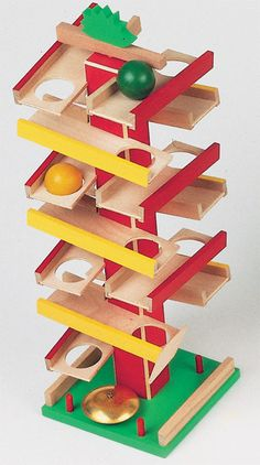 "Petra Double Marble Run - Turn the hedgehog to start the action. The first one down rings a bell. I love this! 15"" high, top quality European made wooden toy. (Check the link for the video.)"