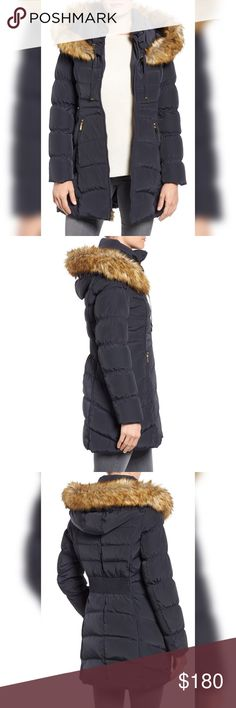 🍂🍂LAUNDRY BY SHELLI SEGAL Coat🍂🍂 Hooded Down & Feather Fill Coat with Detachable Faux Fur Trim LAUNDRY BY SHELLI SEGAL DETAILS & CARE (((has a little minor scratch's in the side of the sleeve burly shows)))) A down and feather-filled coat gets styling versatility and extra weather-beating protection from a drawstring-cinched hood crowned with a detachable ruff of fluffy  Two-way front-zip closure Attached drawstring hood Long sleeves Front zip pockets Fully lined, with 60% down, 40%…