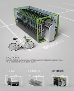 (via T-Bike - Bike Sharing System by Jung Tak » Yanko Design) 32 bikes in the parking space of 1 car? Pretty smart design from Seoul.