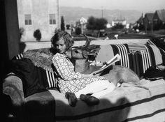 Miss Bradley has her very own pet deer. Beverly Hills, 1927.