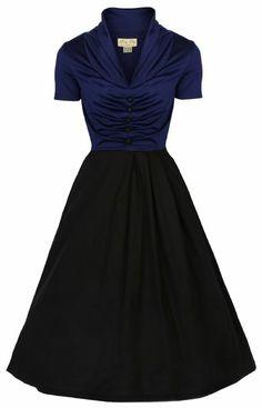 Amazon.com: Lindy Bop 'Elsa' Classy Vintage 1950's Rockabilly Swing Jive Shirt Dress (M, BLUE BLACK): Clothing