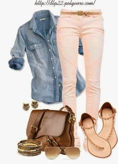 Denim shirt with skinny jeans fall fashion trend