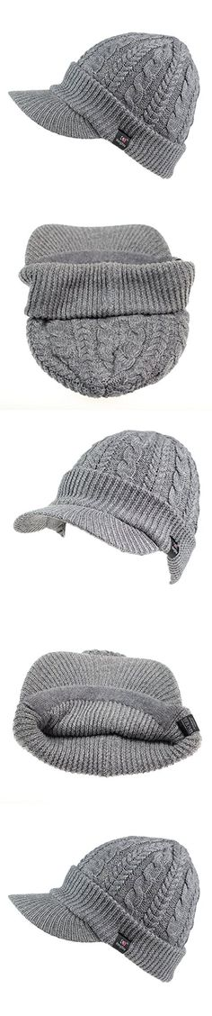 Home Prefer Women s Newsboy Hat Braid Soft Knit Winter Beanie Hat with  Visor Light Gray 18473f7a3c2e