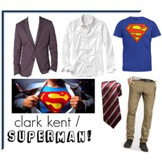 Men's Costume - Clark Kent/Supeman by southcentremall on Polyvore featuring SouthcentreStyle