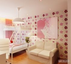 Pink, purple and white girls room