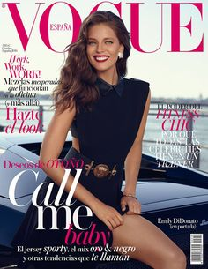 Vogue Spain enlists supermodel Emily DiDonato with IMG Models to pose for their October 2014 cover story captured by fashion photographer Miguel Reveriego.