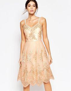 Chi Chi London | Chi Chi London Premium Metallic Lace Midi Prom Dress with Cami Straps at ASOS