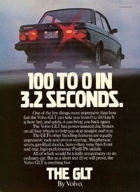 1982 Volvo 240 GLT Ad: 100 to 0 in 3.2 Seconds