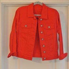 I just discovered this while shopping on Poshmark: Red denim jacket. Check it…