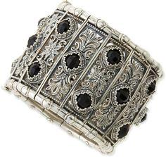 Konstantino Sterling Silver Black Onyx Calliope Cuff Bracelet in Black
