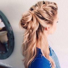 french braid | twist bun | messy | loose | casual | long hairstyle | honey blonde